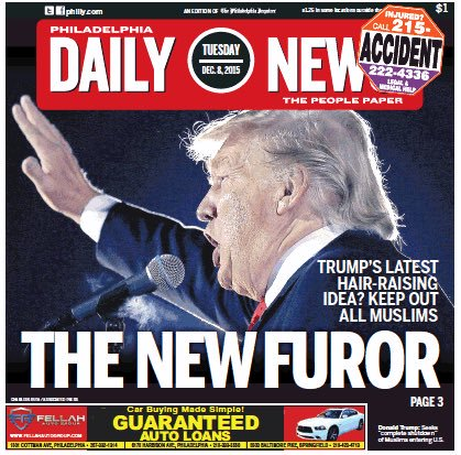 Philadelphia Daily News cover Donald Trump